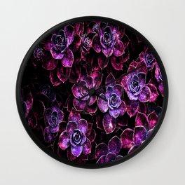 Space Succulents Sparkle Magenta Purple Wall Clock