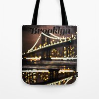 brooklyn Tote Bags featuring Brooklyn by Isabel Lee Art