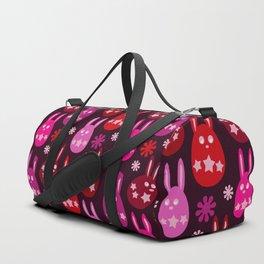 Easter Egg Bunny Pattern - Red Crimson Claret & Pink Duffle Bag