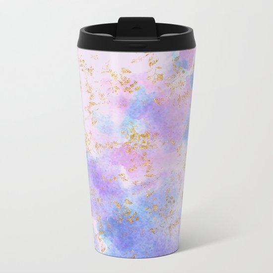 Lavender teal swirls gold Metal Travel Mug