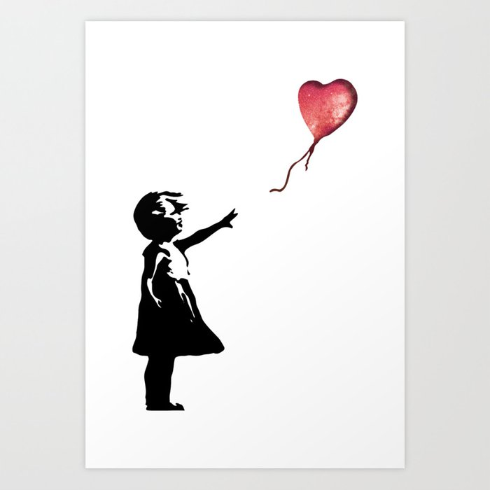 Banksy cosmic balloon Art Print