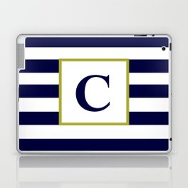 Monogram Letter C in Navy Blue and White Laptop & iPad Skin