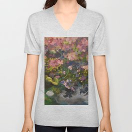 Pond with flowers Unisex V-Neck