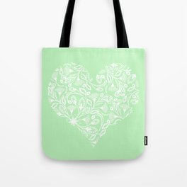 Floral Heart Design in Green and White Tote Bag