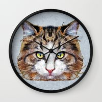 meow Wall Clocks featuring MEOW by Ancello