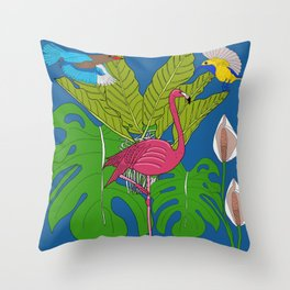 Felicity the pink flamingo in Tropical jungle Throw Pillow