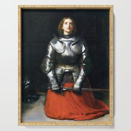 Joan Of Arc by John Everett Millais 1865, Artwork for Wall Art, Prints, Posters, Tshirts, Men, Women, Kids Serving Tray