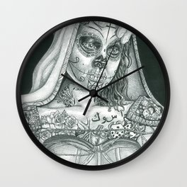 Sugarskull Tattooed Natalie Portman Wall Clock