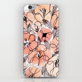 Pink Inky Floral - Watercolor Flowers - Ink iPhone Skin