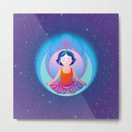 Yoga space meditation girl Metal Print