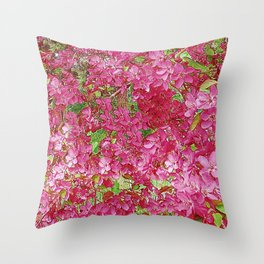 GREEN & FUCHSIA PINK CRABAPPLE FLOWER SPRING ART Throw Pillow