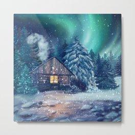 Snowy aurora Metal Print