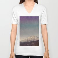 mountain V-neck T-shirts featuring Mountain by Leah Flores