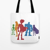 teen titans Tote Bags featuring [ Teen Titans ] Robin, Starfire, Raven, Beast Boy and Cyborg by Vyles