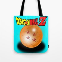 dragonball z Tote Bags featuring Dragonball Z, 4 star by Metalot