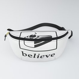 Believe in the Cake (black text) Fanny Pack