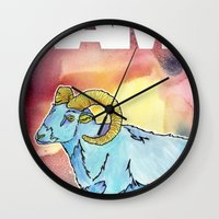ram Wall Clocks featuring RAM by David Napier