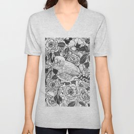 Zebra finch and rose bush ink drawing Unisex V-Neck