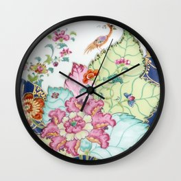 Damask antique floral porcelain china chinoiserie plate of flowers and crane bird vintage photo Wall Clock