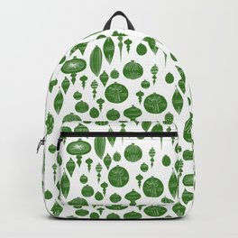 Vintage Christmas Ornaments in Green on White Backpack