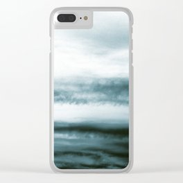 WHITE & BLUE & BLACK TOUCHING #3 #abstract #decor #art #society6 Clear iPhone Case