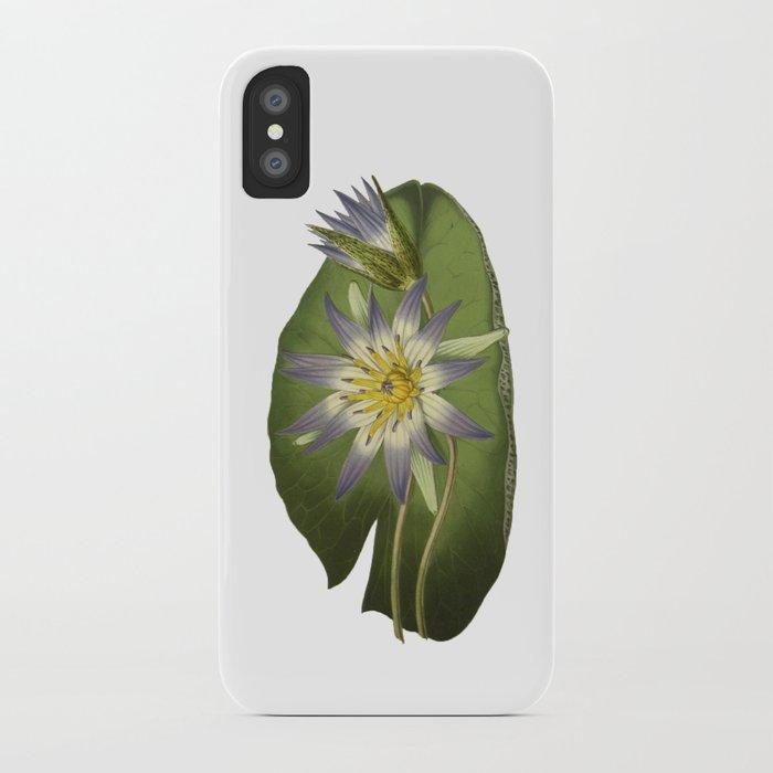 Water Lily Vintage Botanical Print iPhone Case