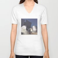 concert V-neck T-shirts featuring Walt Disney Concert Hall by Jeff Harmon Photography