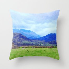 Sheep in Pasture View from Castlerigg Stone Circle, Lake District UK Watercolor Throw Pillow