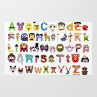alphabet Area & Throw Rugs featuring Sesame Street Alphabet by Mike Boon