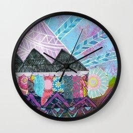 Purple Majesty Mountain Kaleidoscope Wall Clock