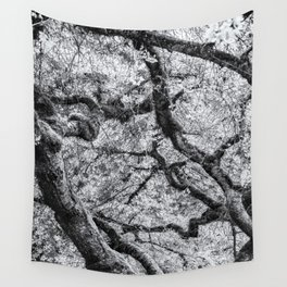 Falling into Spring bw Wall Tapestry