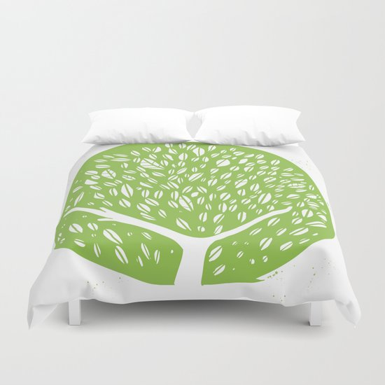 Tree of life - pea green Duvet Cover