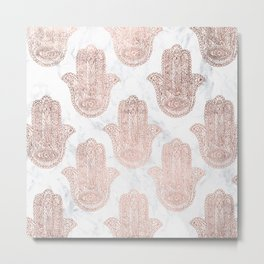 Modern rose gold floral lace hamsa hands white marble illustration pattern Metal Print