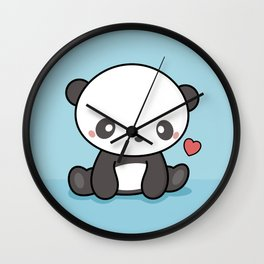 Cute Kawaii Panda With Heart Wall Clock