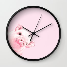 Sneaky Baby Pink Pig Wall Clock