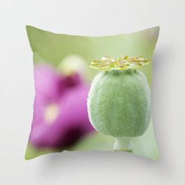 Hungarian Blue Bread Seed Poppy | Seed Pod Alternate Perspective Throw Pillow