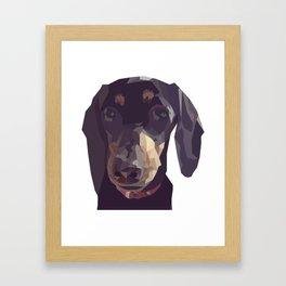 Geometric Sausage Dog Digitally Created Framed Art Print