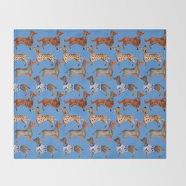 Dachshunds – Cornflower Blue Palette Throw Blanket