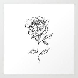 Monochrome Rose Art Print