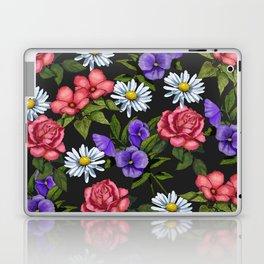 Flowers on Black Background, Original Art Laptop & iPad Skin