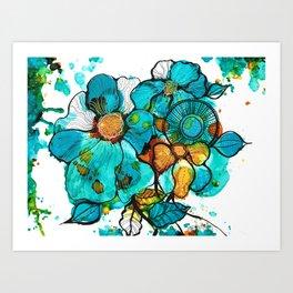 Aqua Bouquet Art Print