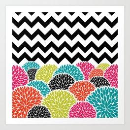 Tropical Flowers Chevron Art Print