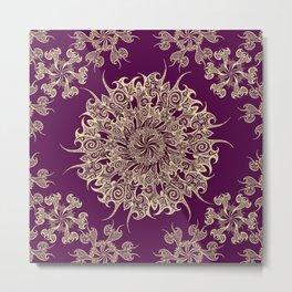Oriental Tattoo Mandala gold on magenta Metal Print