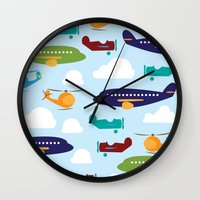 airplanes Wall Clocks featuring Aviation Airplanes Helicopter by cindybee