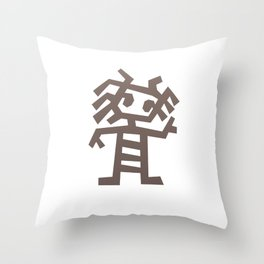 Rasta man Cave carving illustration Throw Pillow