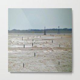 Gormley Statues on the beach (Digital Art) Metal Print