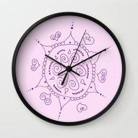 henna Wall Clocks featuring Henna by Melissa Wildt