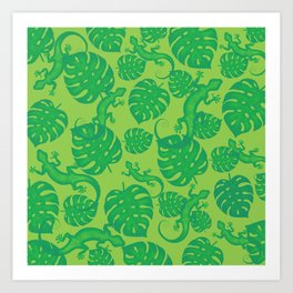 Tropical exotic monstera philodendron leaves and lizards distressed lovely green design. Gift ideas for nature, animal and plant lovers. Botanical pattern. Art Print