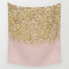 Pink and Gold Glitter Wall Tapestry