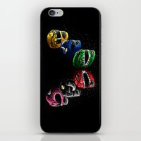 power rangers iPhone & iPod Skins featuring Mighty Morphin Power Rangers by Jelly Soup Studios